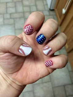 Baseball/chevron/polka dot (red,white & blue) Seasonal Nails, Holiday Nails, Gel Manicure, Mani Pedi, Baseball Nails, Patriotic Nails, Opi Nail Colors, Jamberry Nails, Blue Nails