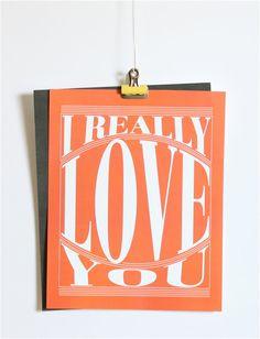 I Really Love You Print  Digital Download Red & by mrsmateerdesign, $4.00