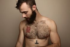 hairygingerman: Beard, tattoos and hairy chest