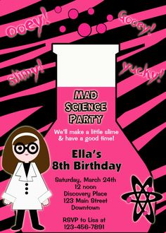 Science, mad science museum birthday invitation -- science party invitation -- girl scientist - you print or I print. $10.00, via Etsy.