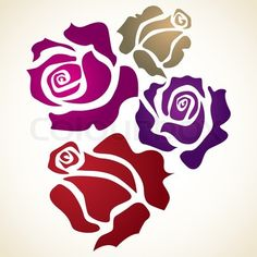 Vector of 'four color flower rose - sketch illustration'