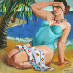Island Girl, Figurative painting, woman, figure study, contemporary figure painting, figurative artist, art about women, painting by artist Marie Fox