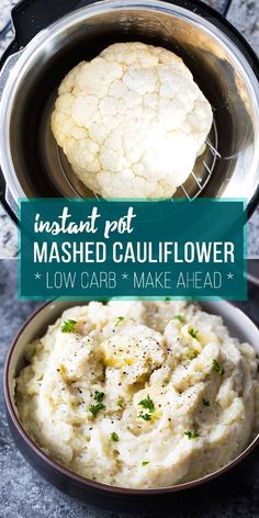 Instant Pot mashed cauliflower is a healthier low carb alternative to mas. -Creamy Instant Pot mashed cauliflower is a healthier low carb alternative to mas. Slow Cooker Recipes, Cooking Recipes, Soup Recipes, Recipies, Healthy Pressure Cooker Recipes, Healthy Instapot Recipes, Chicken Recipes, Cooking Fish, Free Recipes