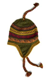 "Pampa Green ""Chullo"" Comfortable and Cozy high quality Alpaca knit beanie."