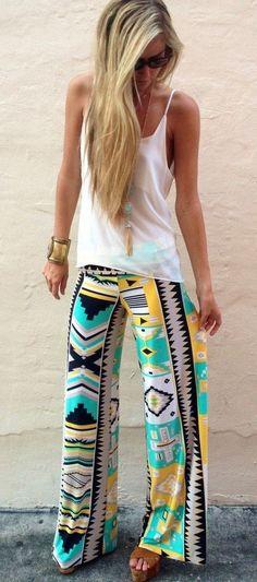 Multicolor Geometric Print Mid-rise Long Pants - Pants - Bottoms