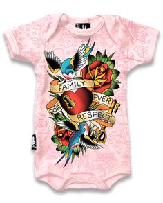 BABY ROCKABILLY SIX BUNNIES ONESIE GIRLS SHOWER GIFT HEART KEY TATTOO PINK LOCK