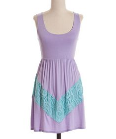 Loving this Lilac & Aqua Lace Chevron A-Line Dress on #zulily! #zulilyfinds