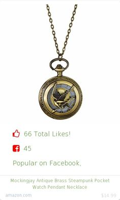 Top christmas gift on Facebook.  Top christmas gift on undefined 66 people likes on Internet. 45 facebook likes. 21 thumbs-up on .undefined hv sterling co amazon christmas gift. mockingjay antique brass steampunk pocket watch pendant necklace from amazon christmas gifts. http://www.MostLikedGifts.com/top-popular-christmas-gifts/amazom-christmas-gift-B00EOSIE8O-mockingjay-antique-brass-steampunk-pocket-watch-pendant-necklace