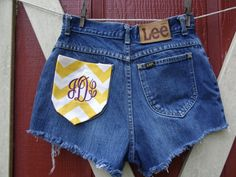 High waisted cut off LEE Rider monogrammed gold by bohemianblue