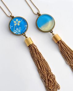 This eyecatching pendant is a stunning statement piece! Featuring a bit of a twist on the tassel style necklaces, I have hand made these beautiful chain tassels, a very tedious process as you can i... Fashion Necklace, Silver Color, Tassels, Pendants, Necklaces, Jewellery, Chain, Handmade, Blue
