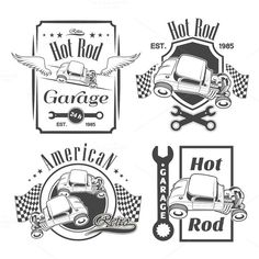 Set of hot rod labels by ART69M on Creative Market
