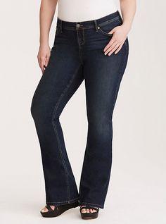 Torrid Luxe Stretch Flared Jeans - Dark Wash, INDIGO