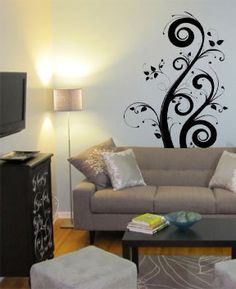 Vinyl Wall Decal Sticker Floral Swirl #706 | Wall decal sticker Wall art decal and Wall decals & Vinyl Wall Decal Sticker Floral Swirl #706 | Wall decal sticker ...