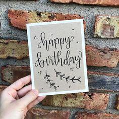 Happy Birthday Greeting Card - Handmade Calligraphy Birthday Card - Kraft Paper Overlay - Single Card - Jeena F. Calligraphy Birthday Card, Happy Birthday Hand Lettering, Calligraphy Cards, Handlettering Happy Birthday, Happy Birthday Greeting Card, Handmade Birthday Cards, Greeting Cards Handmade, Card Birthday, Birthday Wishes