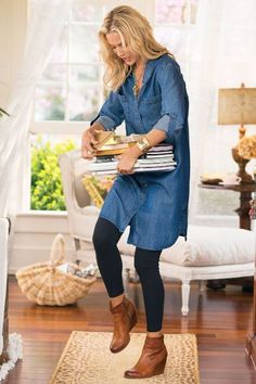 Tencel Denim Shirtdress - Denim Shirtdress, Roll Tab Sleeve Shirt Dress, Tencel Shirt Dress | Soft Surroundings