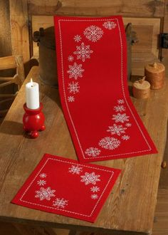 Red Snowflake Runner from Permin counted cross stitch kit. Xmas Cross Stitch, Cross Stitch Borders, Cross Stitch Kits, Cross Stitch Designs, Cross Stitching, Cross Stitch Embroidery, Cross Stitch Patterns, Christmas Runner, Christmas Table Cloth