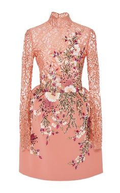 Medium georges hobeika pink embroidered lace long sleeve mini dress
