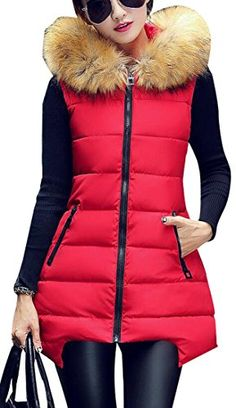 628b1be6195d YYG Womens Fur Collar Sleeveless Solid Down Vest Cotton Vest Jacket Outwear  Red XL