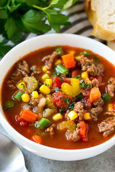 Hamburger soup with potatoes and vegetables is an economical and easy meal option.