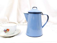 Antique French Pale Blue Enamelware Cafetière Excellent Condition, Enamel, Coffee Pot, French Country Decor, Cottage, Retro, Vintage, Home by VintageDecorFrancais on Etsy https://www.etsy.com/listing/512825333/antique-french-pale-blue-enamelware