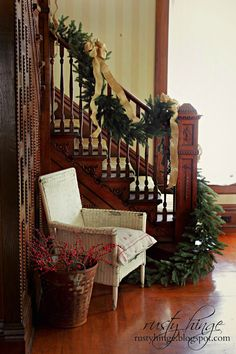 Stratford Spruce Garland perfect for an old Victorian staircase. Image by @mgmarcusse