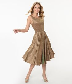 1950s Iridescent Rose Gold Sparkle Martina Swing Dress – Unique Vintage Girly Girl Outfits, Indie Outfits, Retro Outfits, Mod Dress, Retro Dress, Sequin Dress, Exclusive Clothing, Swing Skirt, Hat Hairstyles