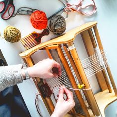 Mori Collective - Weaving a camera band with an old loom bought from recycling centre. Wool yarns dyed with natural colors. How To Make Camera, Recycling Center, Natural Colors, Wool Yarn, Yarns, Loom, Centre, Weaving, Space