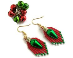 Items similar to Green holiday or Christmas light bulb earrings ...