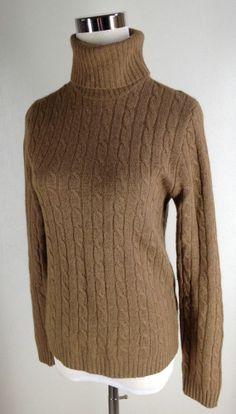 J.Crew Cable Knit Turtleneck Sweater M Caramel Camel Brown Cashmere Blend
