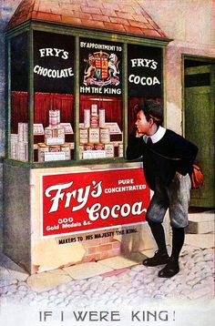 Daydreaming about a yummy cup of Fry's Cocoa, 1907. #vintage #food #ad #Edwardian #1900s