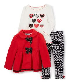 Red Bow Button Jacket Set - Infant & Toddler