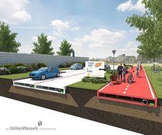 """Duurzame wegen van gerecycled plastic. Het concept hiervoor, PlasticRoad genaamd, is ontwikkeld door KWS Infra; de grootste wegenbouwer van Nederland en een onderneming van VolkerWessels. """"Plastic biedt ontzettend veel voordelen ten opzichte van huidige wegconstructies, zowel bij de aanleg als het onderhoud ervan"""", aldus Rolf Mars, directeur van KWS Infra."""