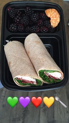 80 Day Obsession Approved! Club Wrap & Fruit Green: Spinach Purple: Blackberries & 1/2 clementine Red: Chicken breast & turkey bacon Yellow: Whole wheat wrap Teaspoon: Fixate mayo  #80dayobsession #planc #pland