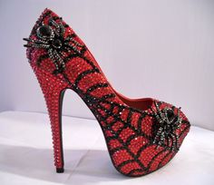 red jewelled spider and web heels