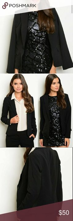 🆕Tailored One-button Black Blazer Material: Polyester spandex blend Sip N' Sparkle Jackets & Coats Blazers