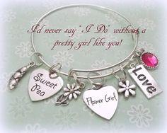 Flower Girl Gift Flower Girl Charm Bracelet by HopeisHipJewelry