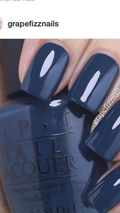 Opi Blue Nail Polish, Best Nail Polish, Blue Shellac Nails, Fancy Nails, Cute Nails, Pretty Nails, Hair And Nails, My Nails, Dark Blue Nails