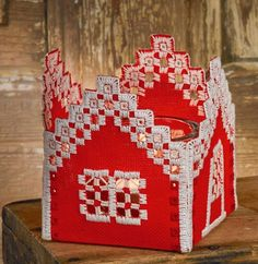 Red House Tea Light Holder - 22 count Evenweave Red House hardanger kit from Permin. A pretty openwork. Hardanger Embroidery, Paper Embroidery, Embroidery Stitches, Crochet Doily Patterns, Crochet Doilies, Doll Clothes Patterns, Dress Patterns, Point Lace, Tatting Lace