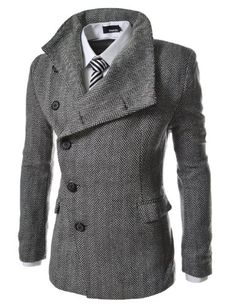 Match Mens Wool Classic Pea Coat Winter Coat(Dark gray-Thin,US S(Asian tag XL))