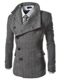 TheLees Mens Unbalance High Neck Slim PEA Coat Jacket Herringbone