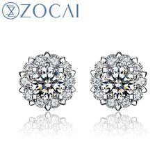 """zocai drown in love """"0.8 carat diameter effect"""" 0.20 ct certified 18k white godl diamond stud earrings e00756"""
