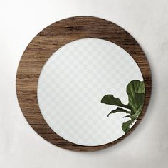 Circular Mirror, Fiddle Leaf Fig, Fig Leaves, Wooden Background, Round Mirrors, Wooden Frames, Image, Home Decor, Hall Way Decor