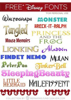 Free Disney Fonts [Please note: Due to copyright, Disney fonts are for personal . Free Disney Fonts [Please note: Due to copyright, Disney fonts are for personal use and not to be used commercially] Fuentes Silhouette, Fuentes Disney, Poster Disney, Disney Classroom, Cricut Air, Silhouette Cameo Projects, Silhouette Cameo Disney, Free Fonts For Silhouette, Disney Silhouette Printables
