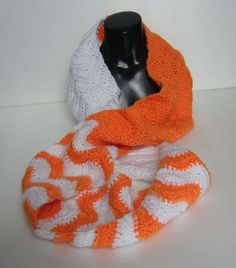 Chevron Scarf White and Orange cowl 69 by 6 Free Crochet, Knit Crochet, Crochet Hats, Chevron Infinity Scarves, Crochet Patterns, Scarf Patterns, Needlework, Quilts, Sewing