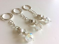 20 Silver Color Angel With Wings Keychain Baptism Communion Wedding Party Favors