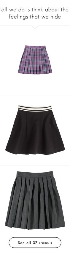 """""""all we do is think about the feelings that we hide"""" by beauty-from-ashes ❤ liked on Polyvore featuring skirts, mini skirts, bottoms, purple, clothing - skirts, purple mini skirt, purple skirt, uniform, clothes - skirts and black"""