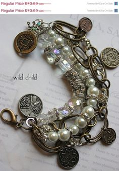 ON SALE bracelet wild child vintage pearl chunky chain coin chunky bold charm bracelet. $59.19, via Etsy.