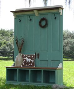 Entryway storage made from old doors and cabinets OR something similar for my…