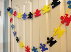 Puzzle Piece Autism Garland Mantle Garlands by JewelsPapercrafts Puzzle Pieces, Puzzle Party, Mantle Garland, Gotcha Day, Event Planning Business, Teacher Tools, Autism Awareness, Garlands, Pen And Wash