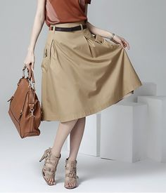 A-line Pockets Khaki and Black Button Midi Skirt - uniqistic.com/